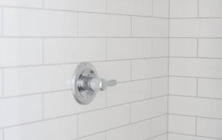 White subway tile in master bathroom